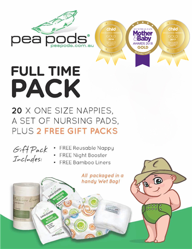 """ONE Size"" FULL TIME PACK: 20 Pea Pods, receive 2 FREE Trial Packs and Nursing Pads"